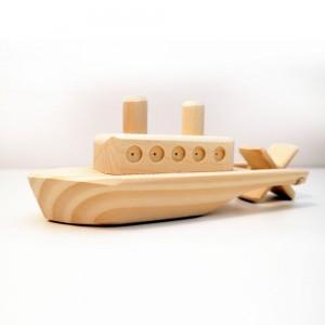 Ahşap Kurmalı Oyuncak Gemi